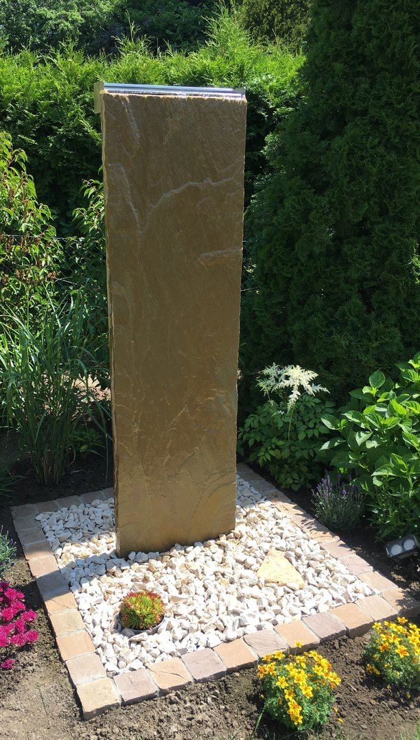 Palisade Sandstein gelb Taco 230x50x5-7cm ohne Betonsockel