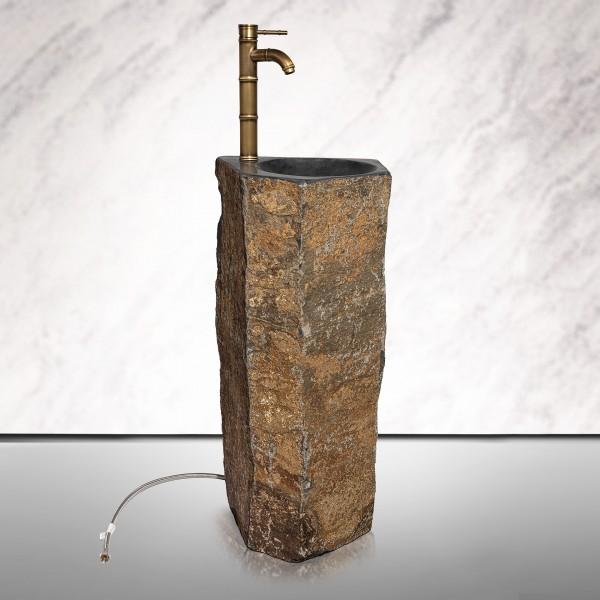 """Waschbecken Basalt mit Hahn""""Kopenhagen""""90x40cm"""