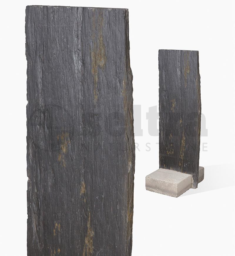 Palisade Schiefer 3/7x50x150cm mit Betonsockel