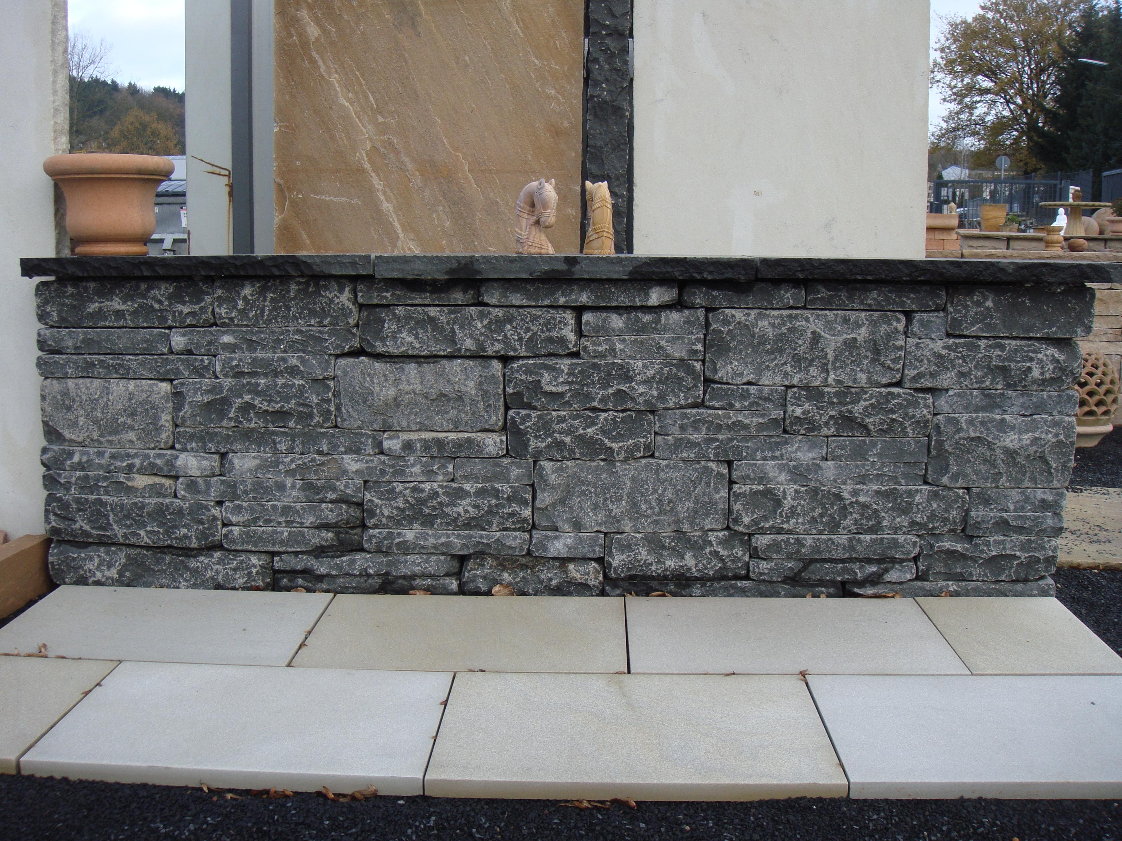 Mauerstein Rebmauerwerk Basalt Kerala Set=1,8m²