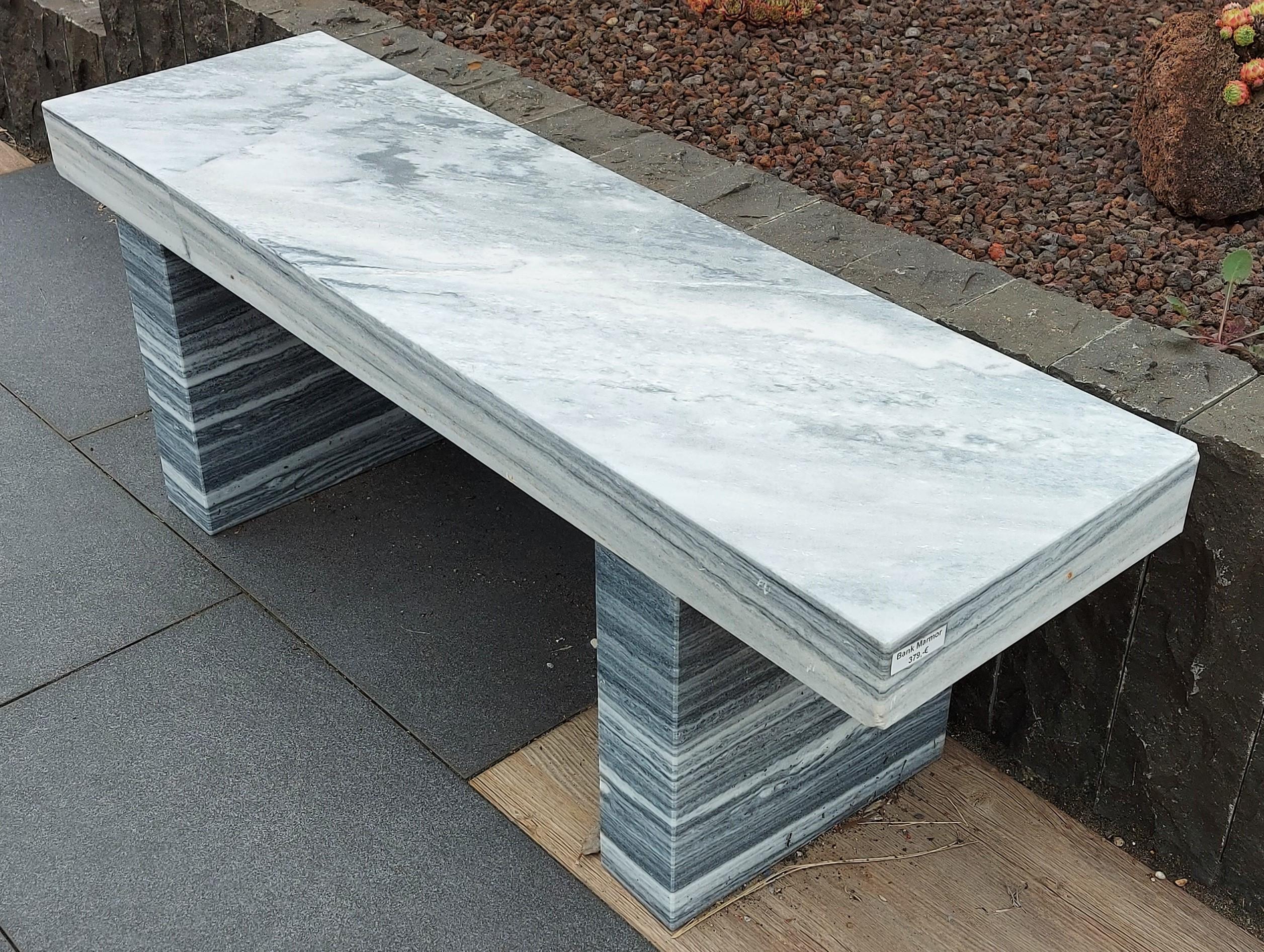 Gartenbank Marmor grau weiß 120x35x45cm